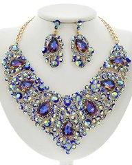 Blue Glass and Rhinestone Statement Necklace Set