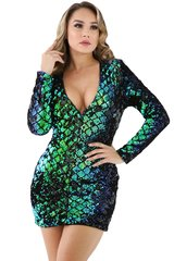 Green Sparkling V-Neck Sequins Mini Dress