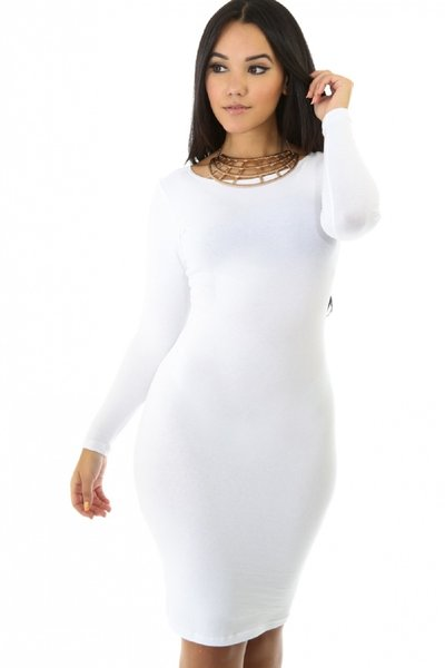 A long sleeved white bodycon dress, a black long sleeve bodycon dress, or one of our red long sleeve bodycon dresses are super sophisticated options. Or go for a totally unexpected cut, like a white two piece bodycon dress with sleeves or strapless white 2 piece bodycon dress!