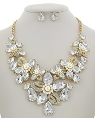 Rhinestone and Synthetic Pearl Flower Statement Necklace Set