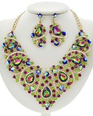 Women's Multi Color Rhinestone and Glass Statement Necklace Set