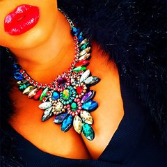 Multicolored Acrylic Statement Necklace and Earring Set
