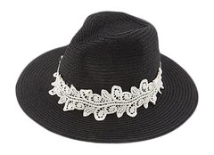 Women's White Lace Black Fedora
