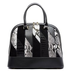 Black and White Python Patchwork Dome Satchel