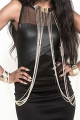 Gold Tone Necklace and Bangle Body Jewelry