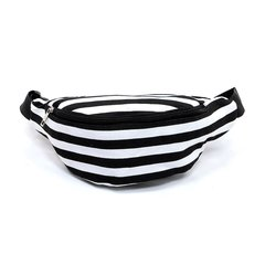Black and White Canvas Stripe Fanny Pack Waist Bag