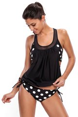 Women's Cut Out Black and White Polka Dot Tankini Swimsuit