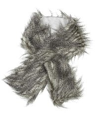 Grey Shaggy Faux Fur Pull Thru Muffler