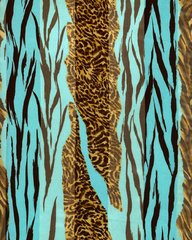 Zebra and Cheetah Print Satin Stripe Scarf (Aqua Blue/ Brown)