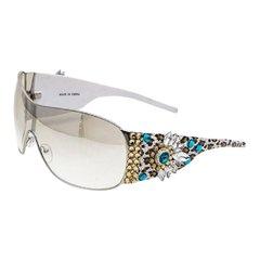 Leopard Print Crystal Ornate Shield Sunglasses