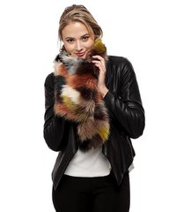 Multi Color Patch Faux Fur Long Scarf