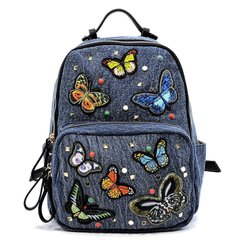 Butterfly Embroidery Denim Backpack