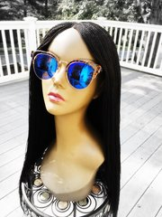 Women's Handmade Micro Twist Lace Front Wig Color 1 Black, 22 Inches