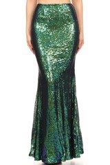 Women's Green Sequin Mermaid Style Maxi Skirt