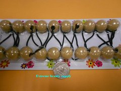 ELASTIC light brown JUMBO BEADS HAIR TIE KNOCKER GIRL SCRUNCHIE BALLS PONYTAil holder