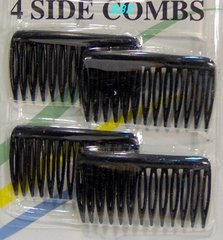 2 basic side comb 4 SIDE COMBS black hairCLIP HAIRPIN PIN Size   size 1/16 x 1 x 1 3/4 inch long  Designed to hold hair securely and comfortably. They are the only side-combs with touching teeth that gently grip and securely hold all hair types