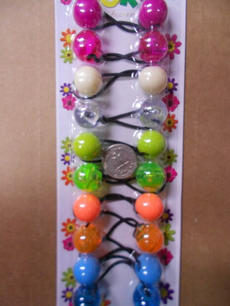 clear purple pink green ELASTIC TIE JUMBO BEADS HAIR KNOCKER GIRL SCRUNCHIE BALLS PONYTAIL HOLDER tie