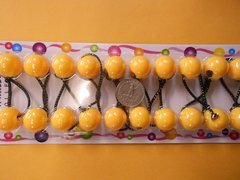 yellow  ELASTIC tie jumbo beads hair Knocker girl Scrunchie Balls Ponytail Holder