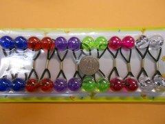 red green purple blue  ELASTIC tie jumbo beads hair Knocker girl Scrunchie Balls Ponytail Holder