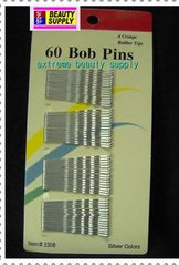 sliver color Secure girl clip bobby cute cheerleader band bob pins  rubber tips 1 7/8 inch long long 60 count