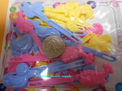 sky blue pink yellow PLASTIC GIRL HAIR BARRETTE accessories SELF HINGE CLIP BOW PIN