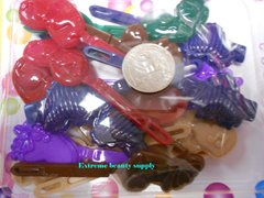 purple green blue PLASTIC GIRL HAIR BARRETTE  Accessorie  SELF HINGE CLIP BOW PIN