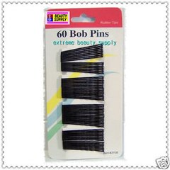 black  Secure girl clip bobby cute cheerleader band bob pins  rubber tips 1 7/8 inch long long 60 count