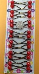 red small size  ELASTIC  jumbo beads hair tie Knocker girl Scrunchie Balls Ponytail Holder