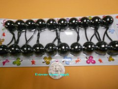 black ELASTIC TIE JUMBO BEADS HAIR KNOCKER GIRL SCRUNCHIE BALLS PONYTAIL HOLDER