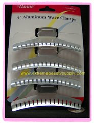 "4 "" inch long ALUMINUM WAVE CLAMPS 4 PCS HOLDS ALL HAIR STYLES"