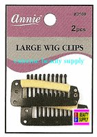 """Annie Wig Clips 2 count pcs size """" LARGE or SMALL color """" BLACK """" clip in extension clip weave high light clip"""