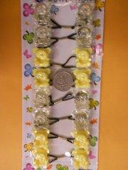 yellow bear ELASTIC tie jumbo beads hair Knocker girl Scrunchie Balls Ponytail Holder
