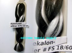 SILKIER silky color # FS 1B / 60 off black with white Afrelle kanekalon synthetic braid hair dreadlock dread lock doll reroot paty COSTUME crown stage play