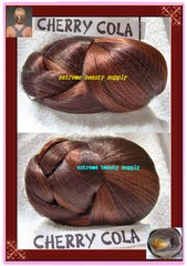 """CHERRY COLA color hair dome piece (sell by 1 pc) bun chignon wiglet clamp fashion pony tail pre styled Ballet PAGEANT Tressallure updo hairdo up do hair do Dance Size 5"""" 1/2 x 4 """" 1/2 x 2"""" 3/8 high"""