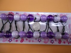 clear purple WHITE ELASTIC TIE JUMBO BEADS HAIR KNOCKER GIRL SCRUNCHIE BALLS PONYTAIL HOLDER