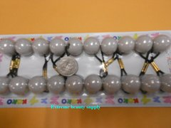 light gray  ELASTIC TIE JUMBO BEADS HAIR KNOCKER GIRL SCRUNCHIE BALLS PONYTAIL HOLDER
