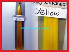 straight silky color YELLOW 100% kanekalon synthetic braid hair dreadlock dread lock doll reroot paty COSTUME crown stage play