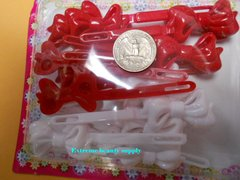 red white ribbon PLASTIC GIRL HAIR BARRETTE ACCESSORIES SELF HINGE CLIP BOW PIN