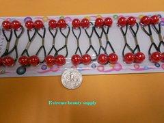 small red  ELASTIC TIE JUMBO BEADS HAIR KNOCKER GIRL SCRUNCHIE BALLS PONYTAIL HOLDER