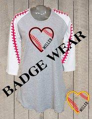 Baseball/Softball Heart Raglan