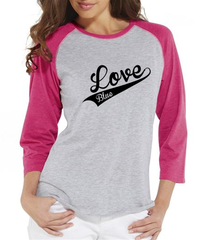Love Blue Baseball - Ladies Baseball T-Shirt