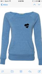 Blue Line Heart Wideneck Sweatshirt