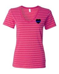 Blue Line Heart Striped V-Neck