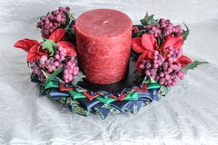 Dark blue & purple berry Christmas centerpiece