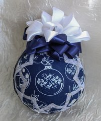 Silver & blue ornament ornament - Quilted folded fabric ornament