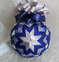 Quilted forlded fabric ornament - Blue & Silver