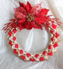 Quilted fabric no sew wreath - Golden Christmas Wreathn-ONLY ONE!