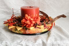 Fall decor - orange flower centerpiece