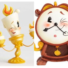 PRE-ORDER Disney Miss Mindy Beauty and the Beast Lumiere & Cogsworth Statue
