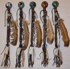 Handmade Navajo Dance Rattle - Round Design